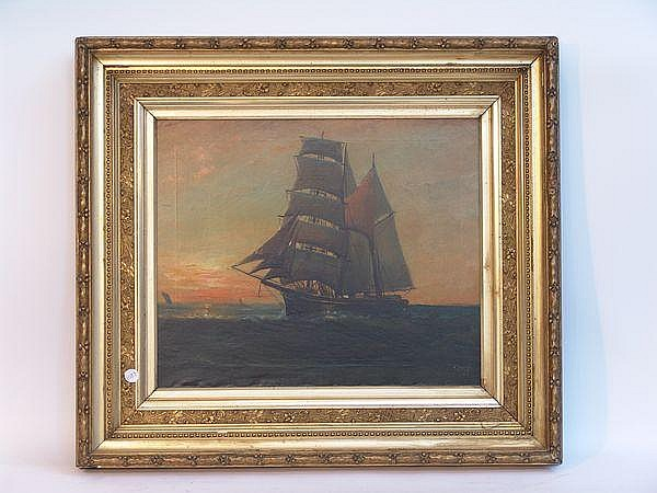 20th C., Brig Under Sail at Sunset, o/c, T. Bailey