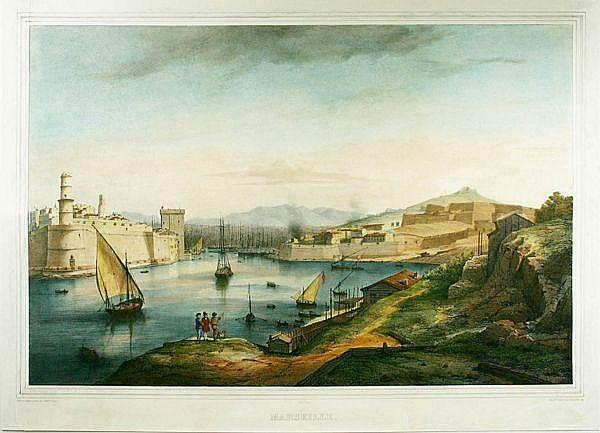 Perrot, Marseille, Litho W/Hc, C.1840
