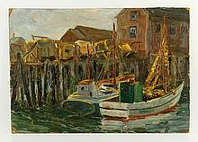 Gloucester School, Fishing Boats at Dock, O/B
