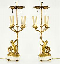 Pair 19th C. French Figural Lamps