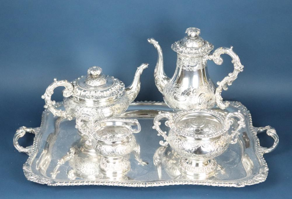 Exceptional 19th C English Sheffield Plate Tea Service
