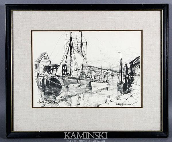 Gruppe, Harbor Scene, Lithograph