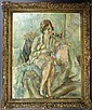 Sgnd Jules Pascin, Girl w/ Basket of Fruit, o/c, Jules Pascin, Click for value