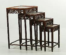 Four Chinese Hardwood Nesting Tables