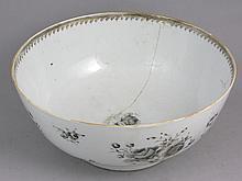 18th C. English Lowestoft Decorated Punch Bowl