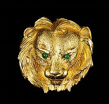 18K Yellow Gold Lion Brooch
