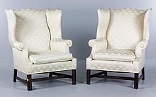 19th C. Pair of Chippendale Style Wing Chairs