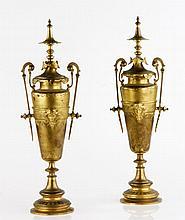 19th C. Victorian Gilt Bronze Urns