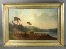 Lev Feliksovich Lagorio, Oil on Canvas, Lake Scene with Sheep