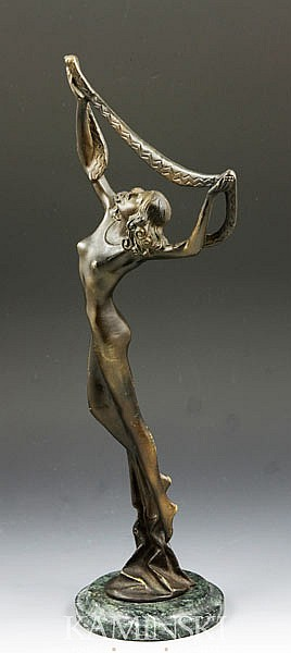 Endstorfer, Woman with Scarf, Bronze