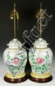 19th C. to Early 20th C. Chinese Pair of Ginger Jar Lamps