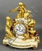 18th C. Louix XVI Figured Marble and Gilt Bronze Clock