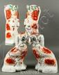 4 Victorian Staffordshire Begging Spaniel Toby Jugs