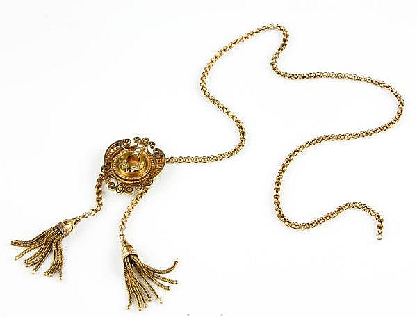 14K Yellow Gold and Seed Pearl Etruscan Style Pendant/Watch Clip with 14k Yellow