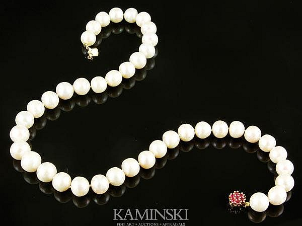 Pearl Necklace with Ruby Clasp