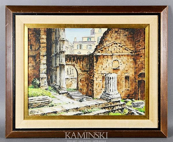 Gasser, Roman Ruins with Archway to a Modern Street Scene, O/B