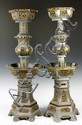 Pair Chinese Pewter Torchiere