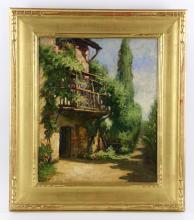 View of a Garden, Tuscany, Italy, Oil on Canvas