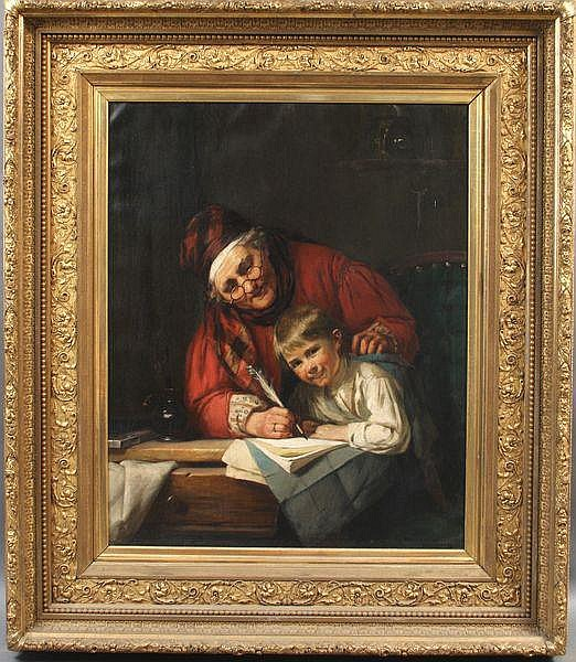 August Muller, The Teacher, o/c, 19th Century