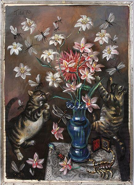 Enrique Grau, cat and butterflies, W/C