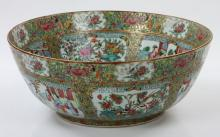 19th C. Chinese Rose Medallion Punch Bowl