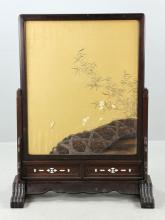 19th C. Japanese Meiji Silk Embroidery Screen