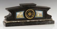 Marble Mantel Clock with Porcelain Inserts