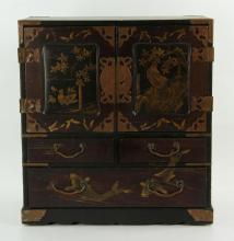 Chinese Black Lacquered Small Chest