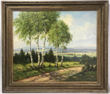Bogdanov Belsky, Landscape, Oil on Canvas