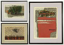 3 20th C. Ujita Wood Cut Prints