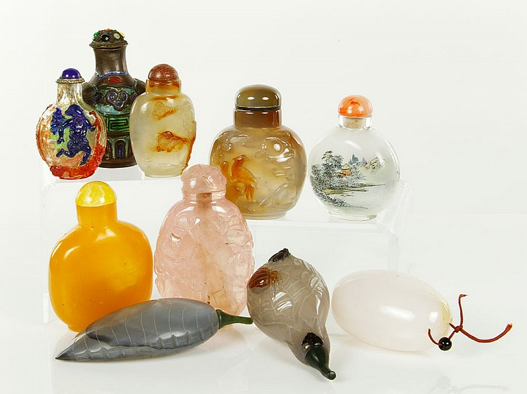 Lot of 10 Chinese Snuff Bottles