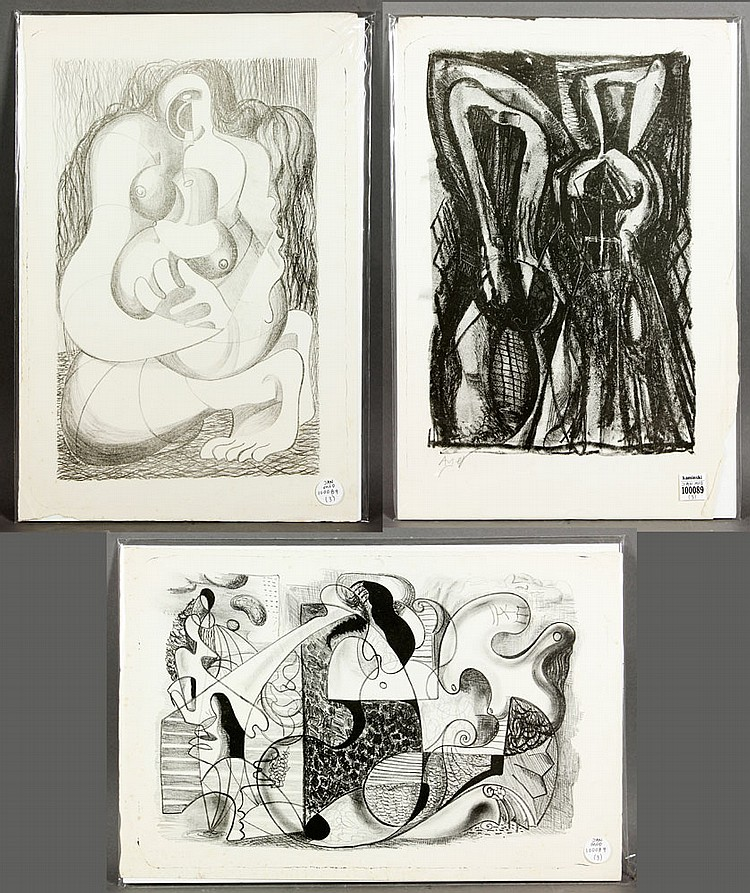 Ayer, 3 Stone Lithographs