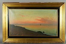 """20th C. """"Luminist Sunset with Ships off the Coast,"""" O/C"""