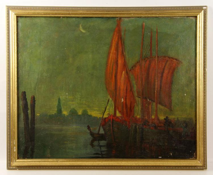 Castano, Red Sails in Moonlight, Oil on Canvas
