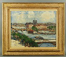 Mid 20th C. French, Seine River, O/C