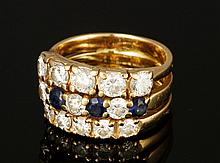 14K Diamond and Sapphire Triple Band Ring