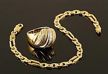 18K Gold Ring and 14K Gold Bracelet