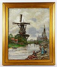 Castello, Landscape with Windmill, O/C