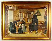20th C. Danish, Home Scene with Woman and Children, O/C