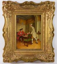 J.D. Aylward, Card Players, Oil on Board