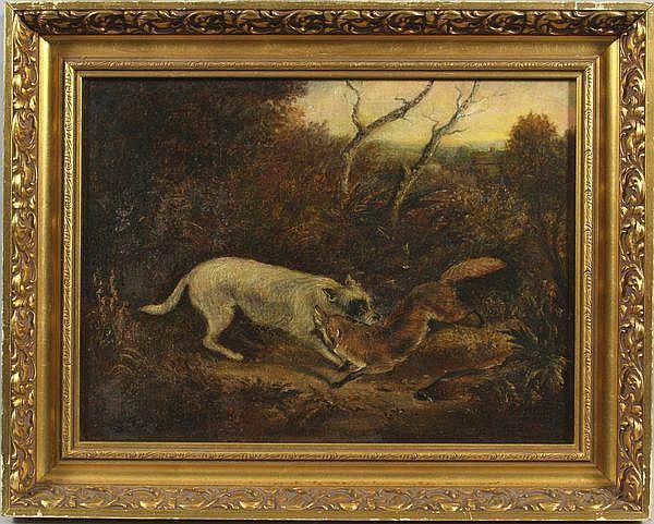 Thomas F. Beard, dog and fox, O/C, 1888