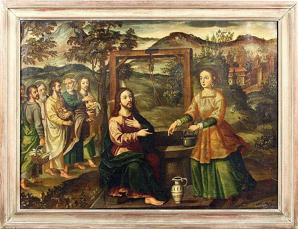 Francisco de Herrera, Christ at the Well, o/c