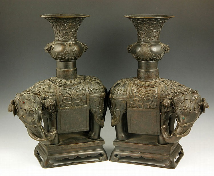 Chinese Pair of Bronze Elephant Vases