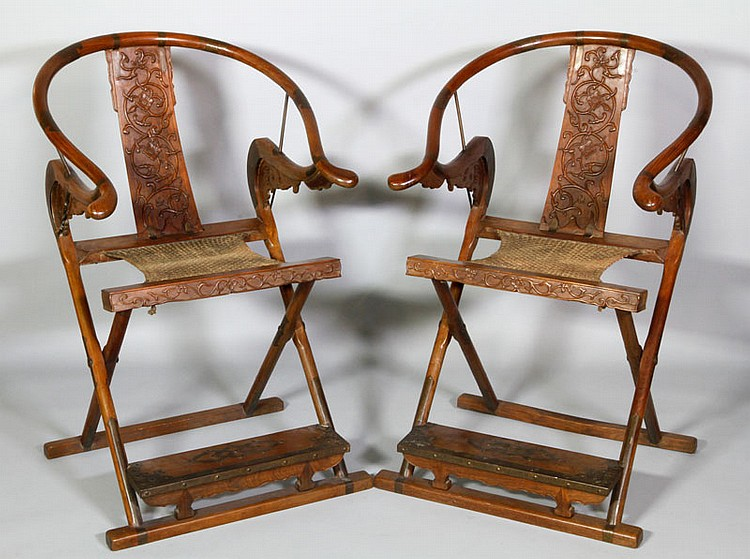 Chinese Pair of Carved Arm Chairs