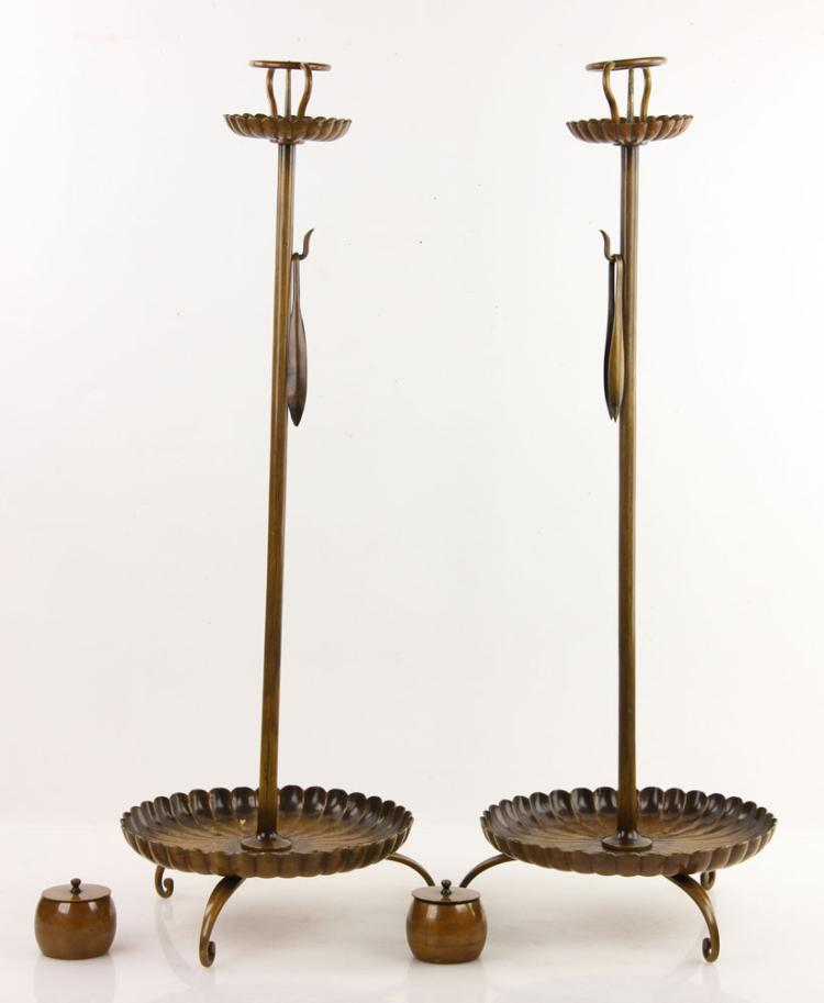 Japanese bronze candlesticks