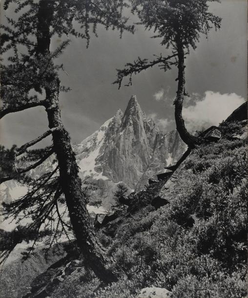 Pierre TAIRRAZ (1933-2000).Paysage de montagne, Chamonix, Mont- Blanc, années 1960.Épreuve gélatino-argentique d'époque montée sur bois.Signature à l'angle sur l'image à l'angle inférieur droit. Cachet au dos du montage d'époque « P. Tairraz,