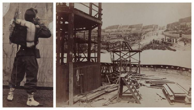 Ancienne collection Georges SIROT (Paris, 1898 - La Roche-Guyon, 1977)[Édouard DETAILLE, peintre (1848-1912)].La bataille de Rezonville (16 août 1870) : oeuvre en cours de réalisation dans l'atelier du peintre, vers 1881.Cet ensemble comprend 7