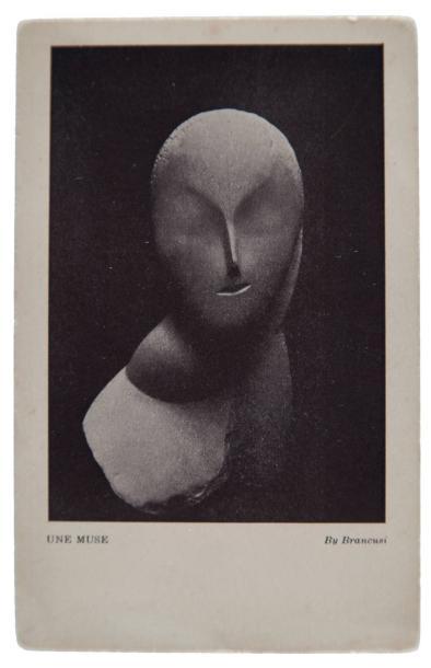 Constantin BRANCUSI (1876-1957).Une muse, 1912.Très rare carte postale en héliogravure éditée en 1913 pour « L'international Exhibition Modern Art Association of American painters and sculptors[...] - February 18 to march 15 1913[...] ».Mention de