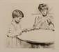 Paul César HELLEU (1859-1927) Mme Helleu et Jean jouant avec des animaux. Pointe sèche. 265 x 300 mm, marges 40 x 53,5 cm (repr. dans Nos Bébés), belle épreuve signée. On joint du même, Femme de profil lisant le journal. Pointe sèche. 23,5 x 16 cm,