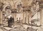 Attribué à BATHELEMY  Astrio con Vista di scala di un Palazzo Imperiale.  Encre et mine de plomb  40 x 54,5 cm à vue.  Non examiné hors du cadre.  Voir la reproduction